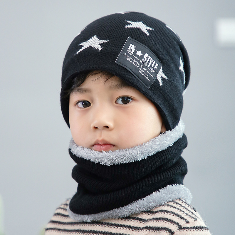 2Pcs Kids Winter Warm Knitted Hat With Scarf Set Skullies Beanies For 3-14 Years Old Boy's Children Outdoor Sport Set