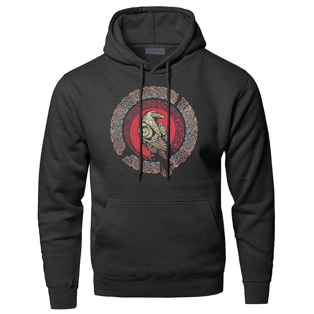 Odin Vikings ผู้ชาย Crow Athelstan เสื้อกันหนาว Streetwear ฤดูหนาวขนแกะเสื้อกันหนาว Hoodies Hoodies Gone TO Valhalla Hoody