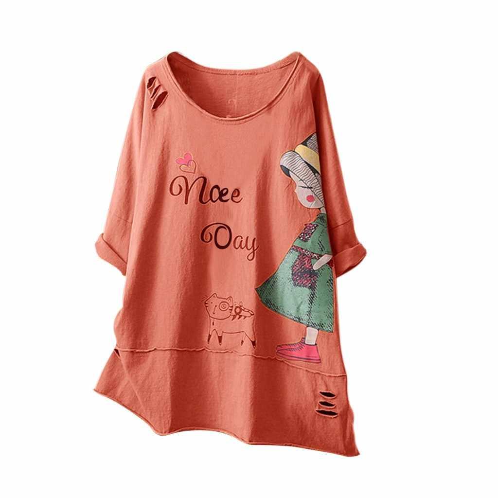 ใหม่ผู้หญิงแฟชั่น O-Neck เสื้อแขนสั้นพิมพ์การ์ตูนผ้าฝ้ายผ้าลินิน Poleras Camiseta Mujer ผู้หญิง Harajuku T เสื้อ