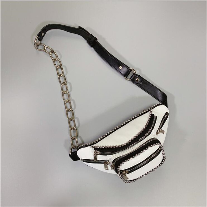 Shoulder-Bags Real-Genuine-Leather Chain-Chest Waist-Bum-Belt Crossbody Studed Women