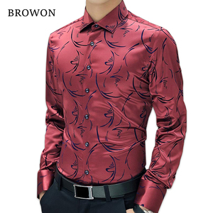 Image 1 - 2020 New Arrival Luxury Brand Mens Formal Shirts Long Sleeve Floral Men Shirt Tuxdeo Shirt Designer Shirts Plus Size 5XL