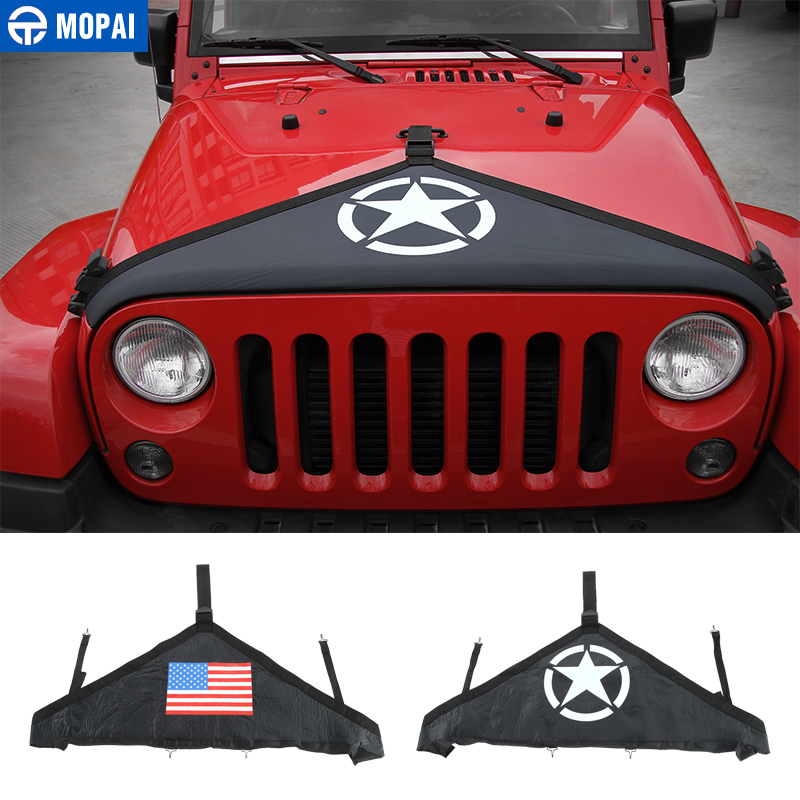 MOPAI Canvas Car Front Hood Cover Protector Accessories for Jeep Wrangler JK 2007 Up Exterior Engine Cover Car Styling
