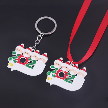 2020 Quarantine Christmas Charms Necklaces Santa Claus Mask Toilet Paper Hanging Pendant Decoration Christmas Tree Ornament Gift image