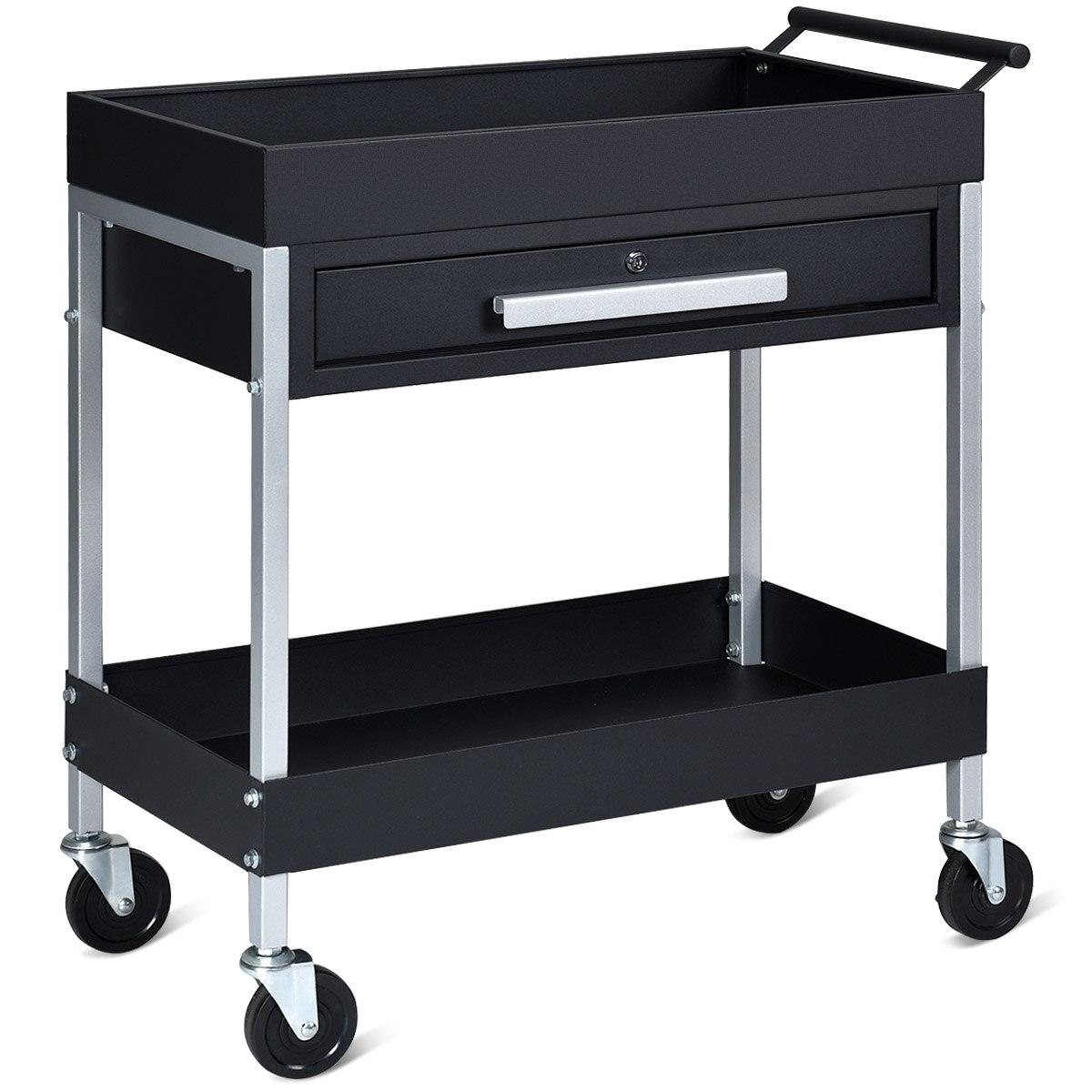 Carro de herramientas de 2 estantes carrito DE SERVICIO PESADO con cajón de bloqueo y ruedas