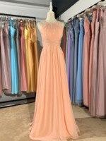 2020 new different color Peach Sherbet long Boat collar sleeveless chiffon Customizable fashion bridesmaid dress mocini tailor