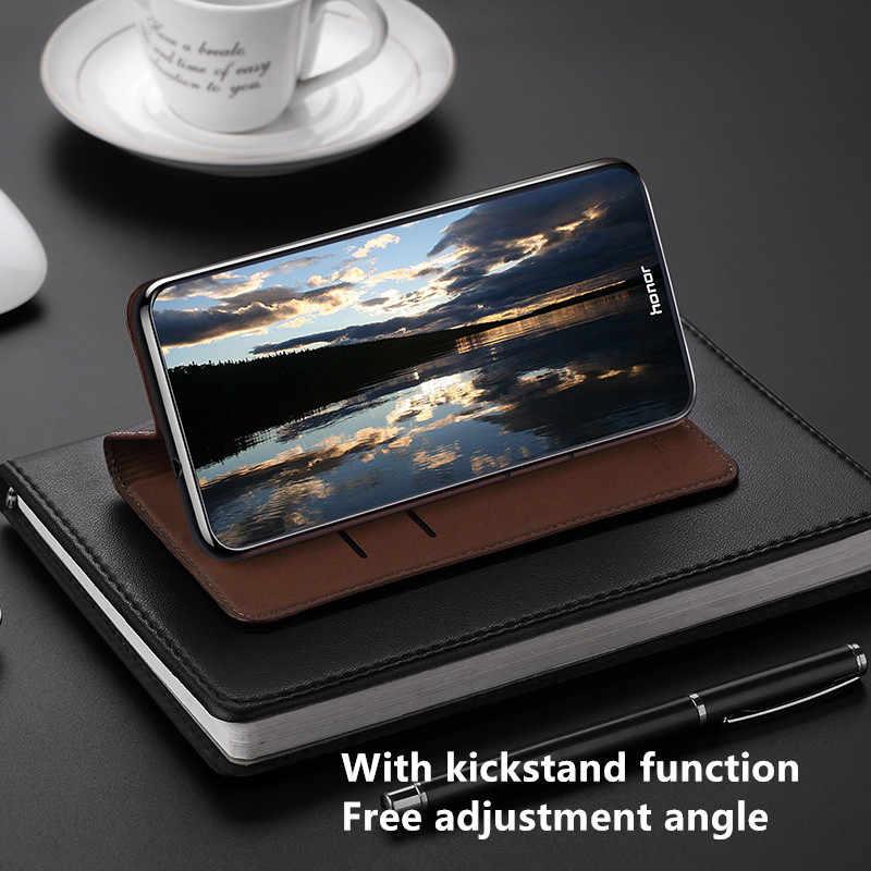حافظة هاتف مغناطيسية من الجلد الطبيعي عالية الجودة لهواتف Lenovo Z6 Lite/Lenovo Z6 Pro/Lenovo Z6 حافظة مع فتحة لبطاقة Coque