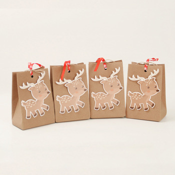 2020 candy kraft paper packaging gift box коробка упаковка Christmas reindeer elk candy bag подарочная коробка scatole natale
