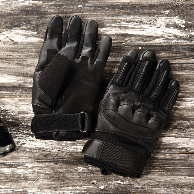 Touch Screen Leather Motorcycle Gloves Motocross Tactical Gear Moto Motorbike Biker Racing Hard Knuckle Full Finger Glove Mens 1