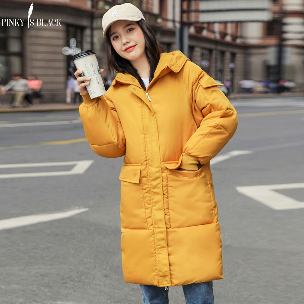 PinkyIsBlack Fashion 2019 Long   Parka   Women Autumn Winter Jacket Coat Pockets Hooded Down Cotton Winter Jacket Women Coat Outwear