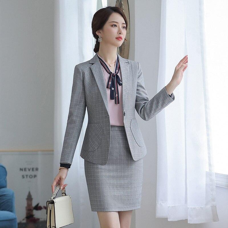 female elegant Women's Gray Plaid Pants Suit dress Blazer costumes jacket Suits ladies office wear uniforms 2 piece set clothes