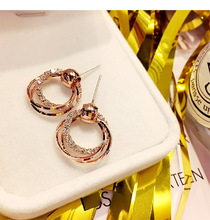 Rose Fashion Dazzling Geometric Round Pendant Earrings Female Japanese and Korean Version of The