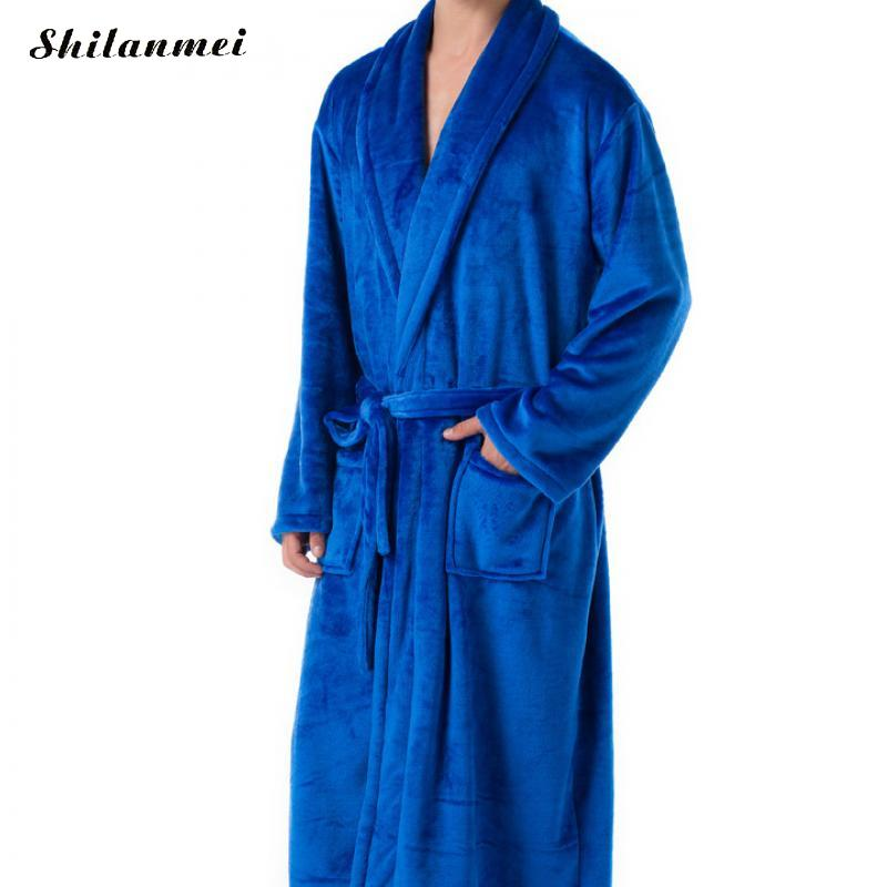 Fashion Casual Male Robe Mens Bathrobes Long Sleeve Lapel Collar Men Flannel Robe With Belt Plush Kimono Warm Male Bathrobe Coat