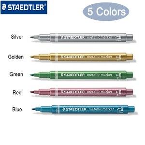 Image 1 - Staedtler 8323 금속 색상 마커 펜 사용 DIY 카드 사무실 및 학교 편지지 용품 5 개/몫