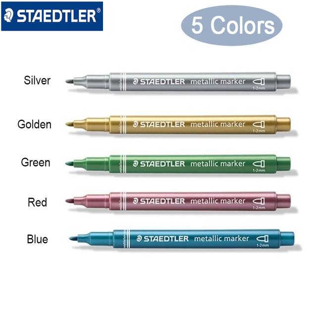 Staedtler 8323 kolory metaliczne marker długopis używać do DIY karty biurowe i szkolne artykuły papiernicze 5 sztuk/partia