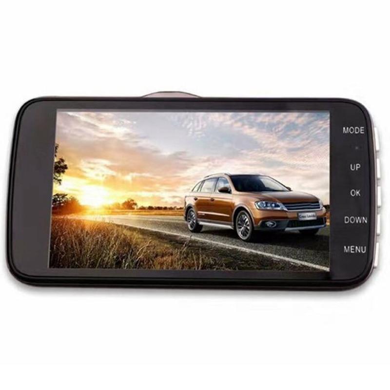 4-дюймовый ЖК IPS Двойной объектив Автомобильный видеорегистратор FHD 1080P камера для приборной панели 170 ° видеорегистратор для вождения