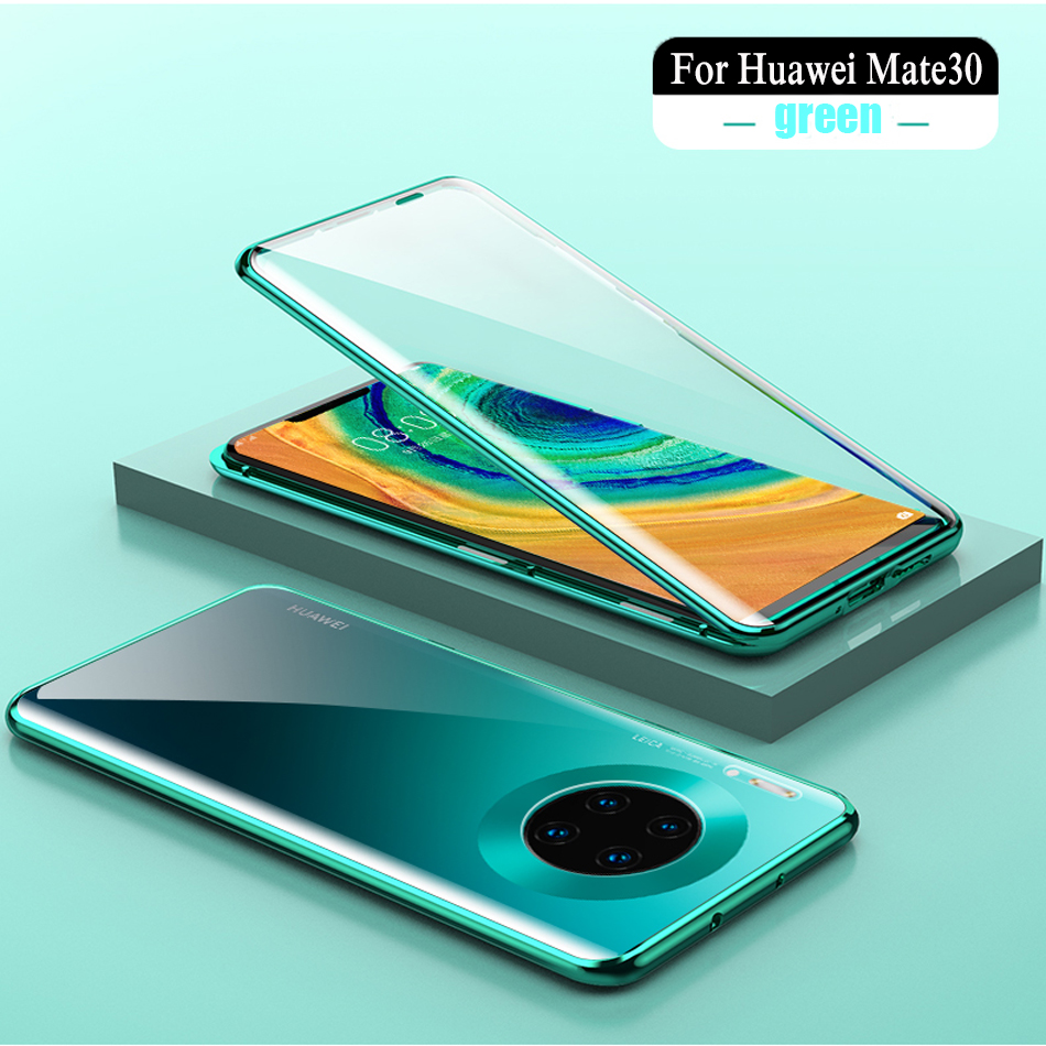 Two Side Protection Full Coverage Magnetic Glass Crystal Clear Phone Case For Huawei Mate30 P30 Lite Pro