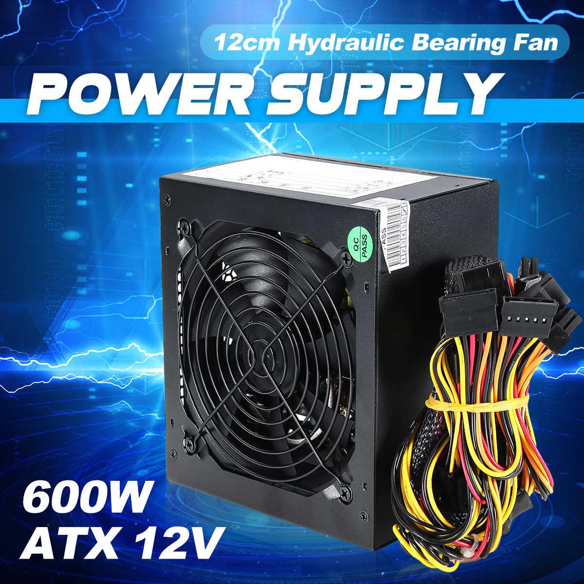 Zasilacz PC 600W czarny cichy wentylator 120mm 20/24pin 12V ATX nowy zasilacz do komputera BTC
