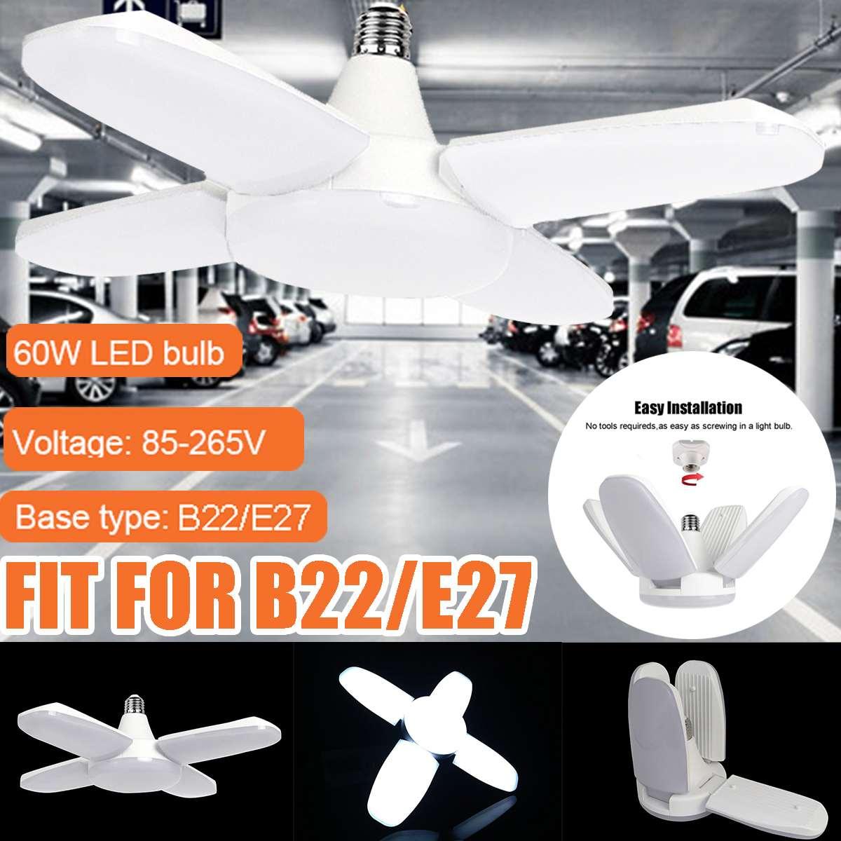 60W E27/B22 Deformable Garage Light Bright Industrial Lighting Led 6000LM 100-265V 2835 High Bay Industrial Lamp For Workshop