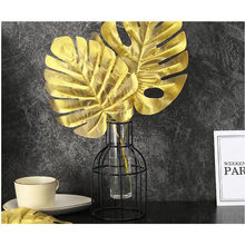 Golden Plant Photo props Home decoration ,Golden Artificial Palm Leaves Tropical Faux Leaves Decoration DIY Wedding Decoration