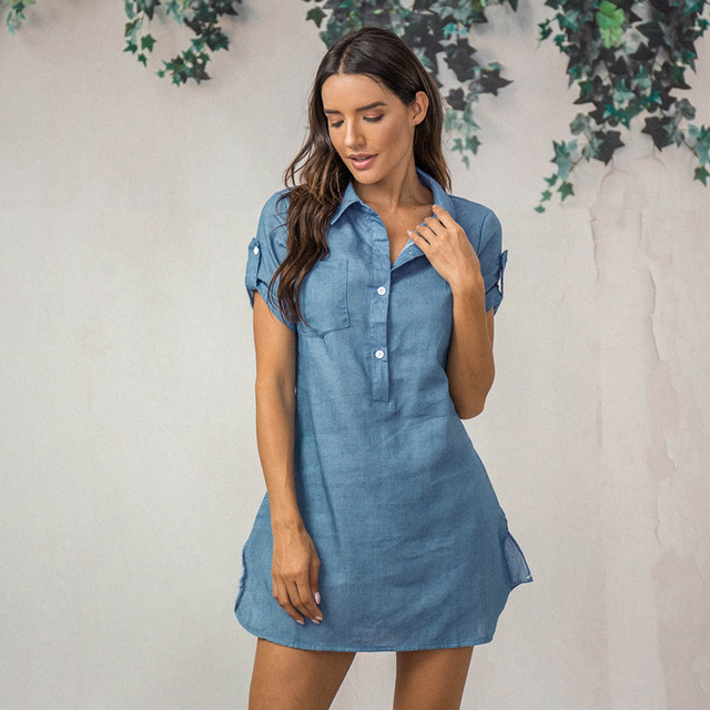 Denim Solid  Short Sleeves V-neck  Casual Turn Down Collar shirt Dress 1