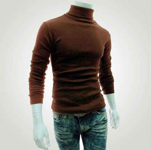 가을 겨울 남성 슬림 따뜻한 코튼 블렌드 하이 넥 풀오버 점퍼 스웨터 탑 터틀넥 니트 스웨터 점퍼 탑 셔츠 M-XXL