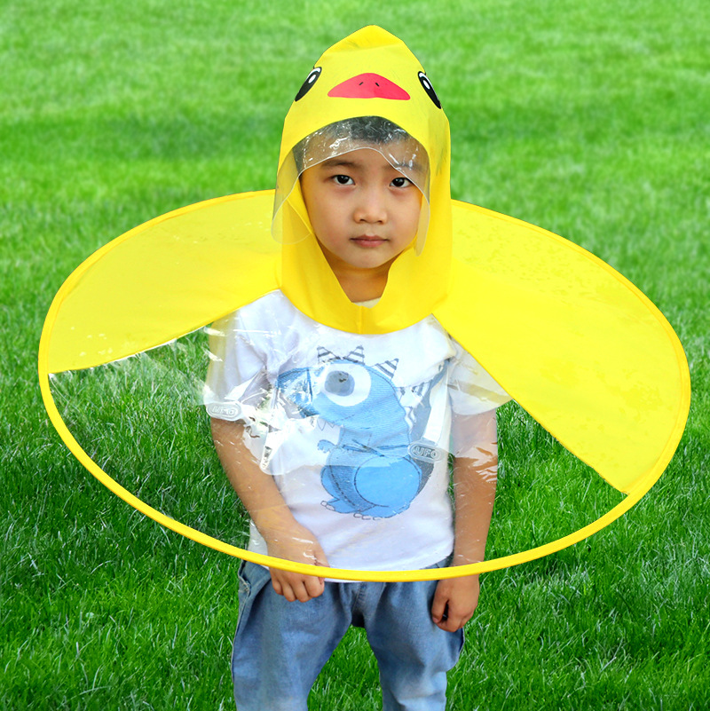 Baby UFO Hat Umbrella Outdoor Cloak Transparent Waterproof Raincoat Folding Cartoon Creative
