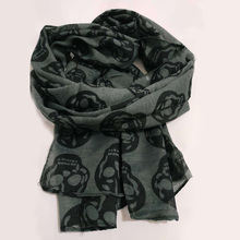 Autumn Female Skull Print Scarf Women Cotton Linen Scarf Sum