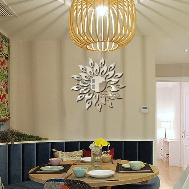 1set 3d Mirror Wall Stickers Sun Flower Flame Decorative Stickers Room Decoration Home Decor Living Room Luxury Style Bedroom 4