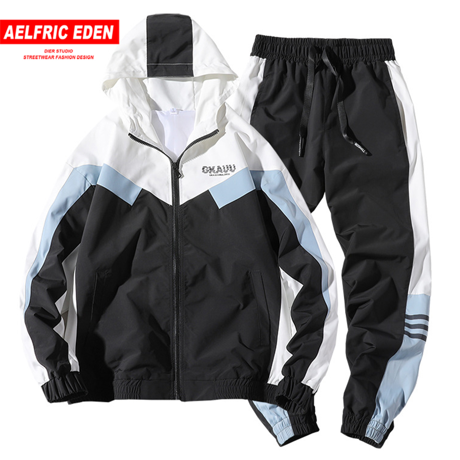 Aelfric Eden Modern Sports Casual Men's Sets 2020 Spring Hip Hop Patchwork Color Block Sportswear Fashion Streetwear  Two-pieces
