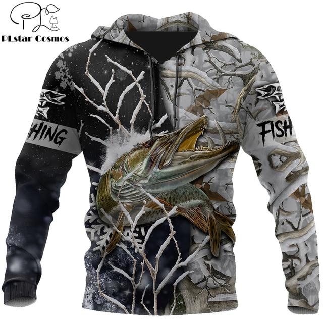 Musky fishing winter camo hoodie