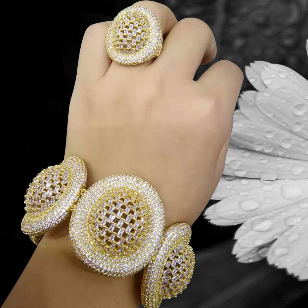 Missvikki 2020 à la mode grand luxe déclaration bracelet anneaux pour les femmes cubique Zircon doigt anneaux perles bague avec breloque bohème bijoux