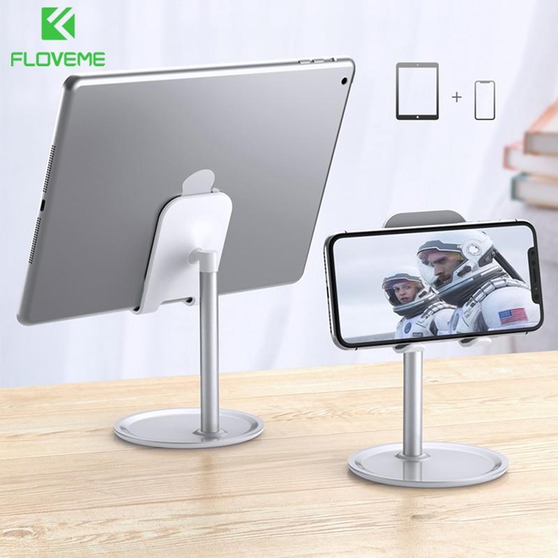 FLOVEME Alloy Mobile Phone Holder Stand Adjustable Cell Phone Tablet Desk Holder For Iphone X 8 7 Samsung Desktop Phone Holder