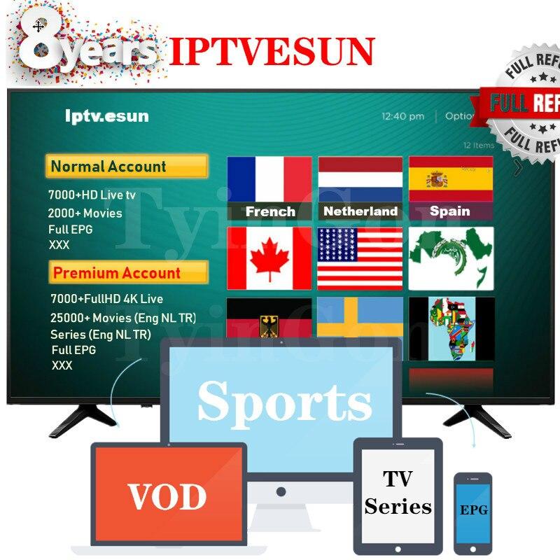 Abonnement IPTVESUN Normal/Premium FHD IPTV France pays-bas IPTV allemand belgique suède Canada USA IPTV M3U 7000 + Live