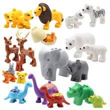 Animais do zoológico série conjunto tamanho grande blocos de construção montar acessórios bonito aves animais elefante tigre duplie educação brinquedos crianças