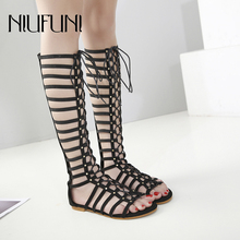 NIUFUNI Leather Women's Lace Up Sandals Strappy Peep Toe Knee High Back Zip