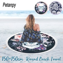 Women Large Bath Towel for Beach Thick Round 3d Sugar Skull Printed Fabric Quick Compressed Tapestry Yoga Mat