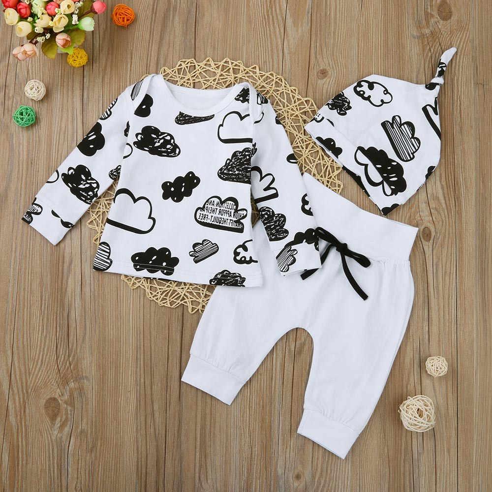 Recién Nacido bebé niña niño nube de impresión de manga larga Camisetas pantalones sólidos sombrero otoño trajes moda Casual conjuntos de ropa