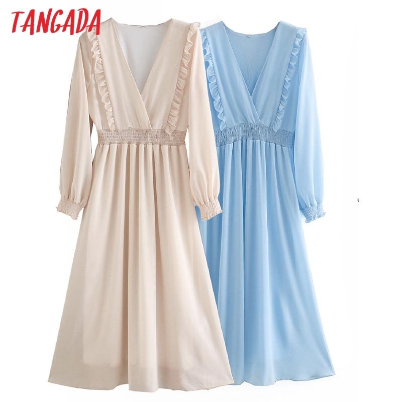 Tangada fashion women solid autumn dress ruffle long sleeve strethy waist ladies work midi dress vestidos XN526