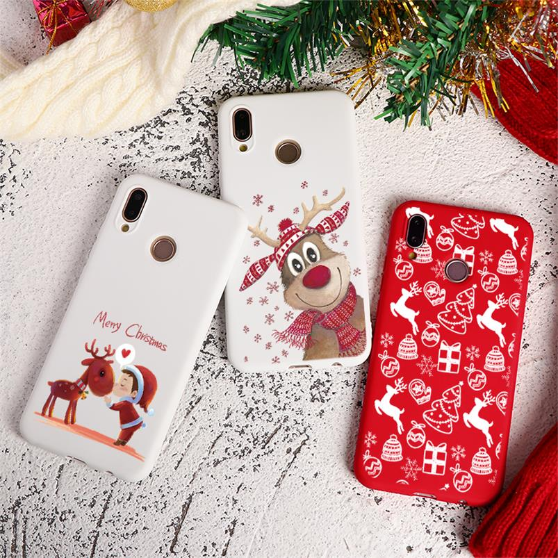 Christmas Deer Red White Cover For Huawei Honor 8A 8X 9X 7A 7X 7S 9 10 20 Lite Pro 10i 20i Play Y5 Y6 Y7 Y9 2018 2019 TPU Case image