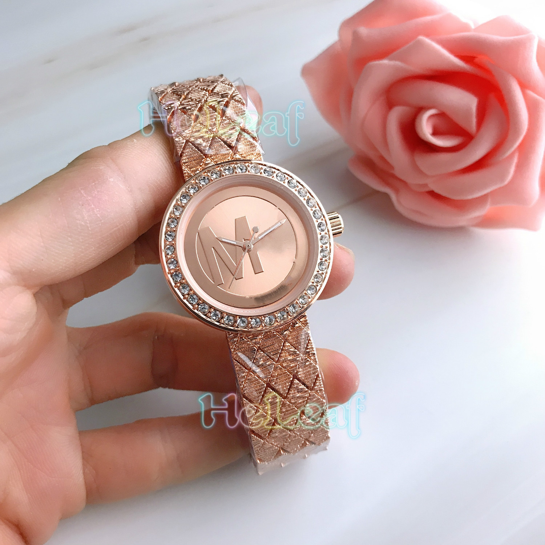 Fashion Gold Silver Stainless Women Watch Quartz Wrist Watches Ladies Girls Famous M Brand Female Clock Montre Femme reloj