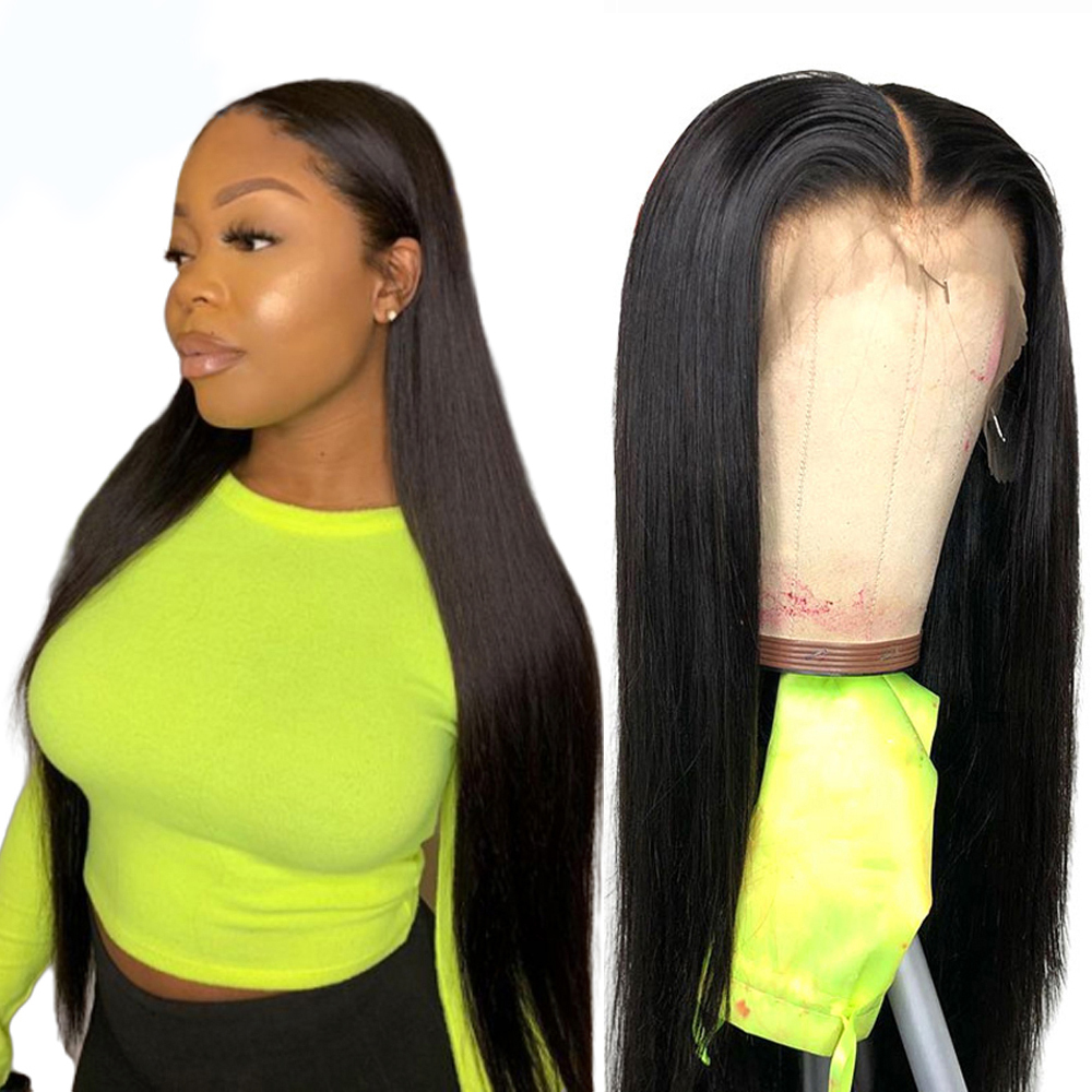 Beaudiva Human-Hair-Wigs Straight-Hair Lace-Front Peruvian Transparen HD with Baby Pre-Plucked title=