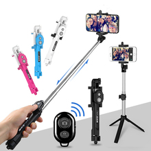 Bluetooth Selfie Stick Tripod Extendable Foldable Monopod with Handheld Remote Control Rotatable Selfie-Stick for Photo Camera