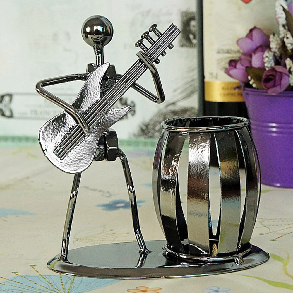 Musician Miniature Durable Pen Holder DIY Decoration Home Storage Gift Desktop Ornament Office Free Standing Iron Man Shaped