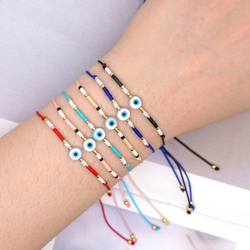 XUXI 2020 Women Fashion Rice Beads Charms Bracelet Import Japan Rice Beads Hand Made Evil Eye Simplicity Boho Bracelets SS025