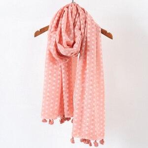 Image 2 - Hiyab de lunares plano liso para mujer, bufanda de gran tamaño, chal islámico, para la cabeza, suave, larga, mezcla de algodón, hijabs lisos