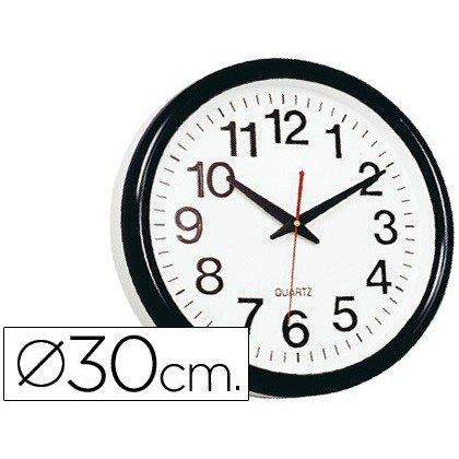 WATCH Q-CONNECT WALL PLASTIC ROUND OFFICE 30 CM MARCO BLACK