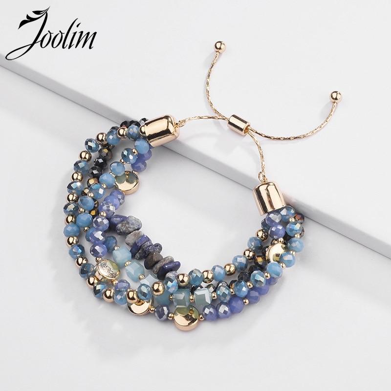 Joolim Jewelry Wholesale/4 Colors Natural Stone Bead Adjustable Charm Bracelet Bohemian Bracelets For Women Customized Jewelry