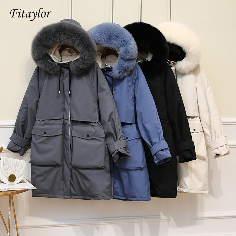 Fitaylor Extra Large Real Fox Fur Collar Long Coat Winter Jacket Women 90% White Duck Down Thick Parkas Warm Snow Outwear