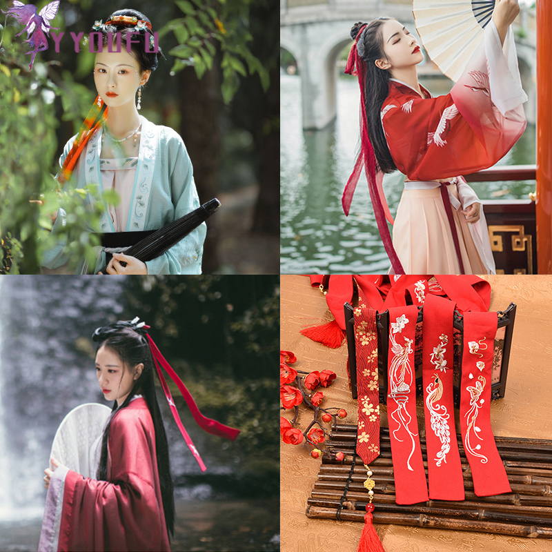 YYOUFU Chinese Style Headband Belt Antiquity Hanfu Costume Headdress Chiffon Hair Traditional Band Girls Headwear Women Jewelry