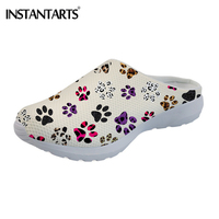 INSTANTARTS Summer Mesh Dog Paw Print Slipper Shoes Breathable Light Wight Sandal Shoes Cute Animals Travel Beach Water Shoes